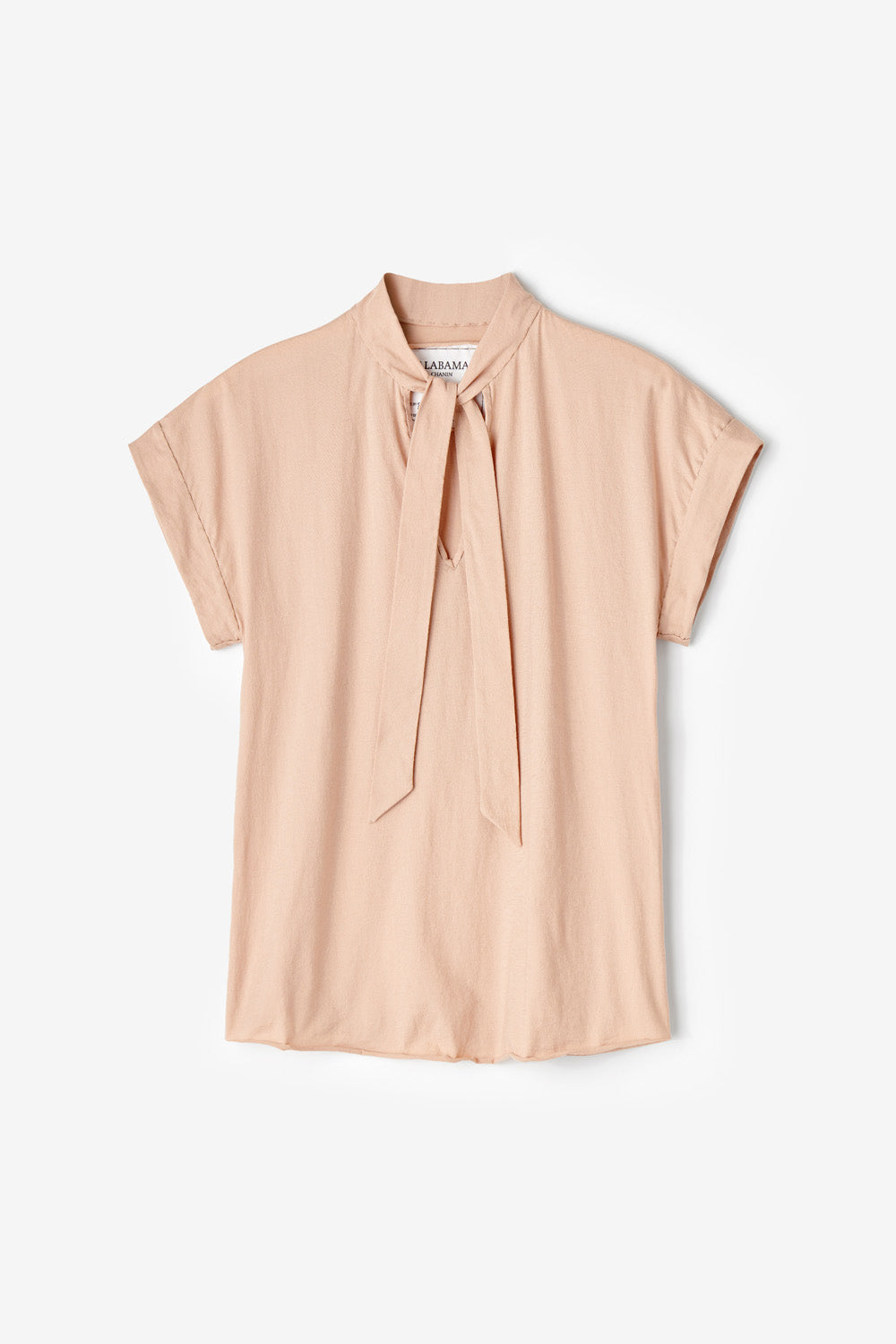 Alabama Chanin Naomi Top Hand Sewn Organic Cotton Top with Bow Tie Closure in Pink