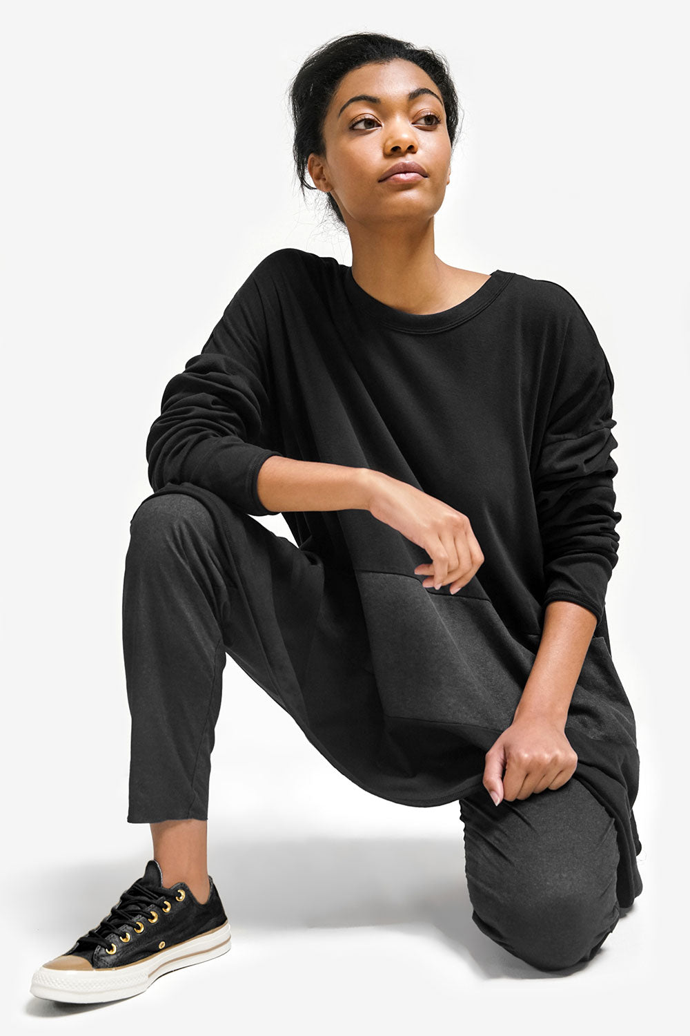 Alabama Chanin Natalie's Pullover Organic Cotton Oversized Top in Black Layered on Model