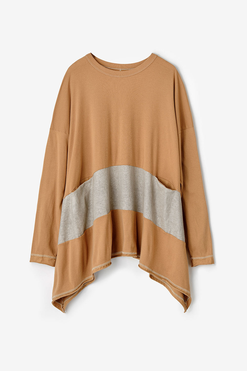 Alabama Chanin Natalie's Pullover Women's Pull On Top with Long Sleeves and Pockets in Camel