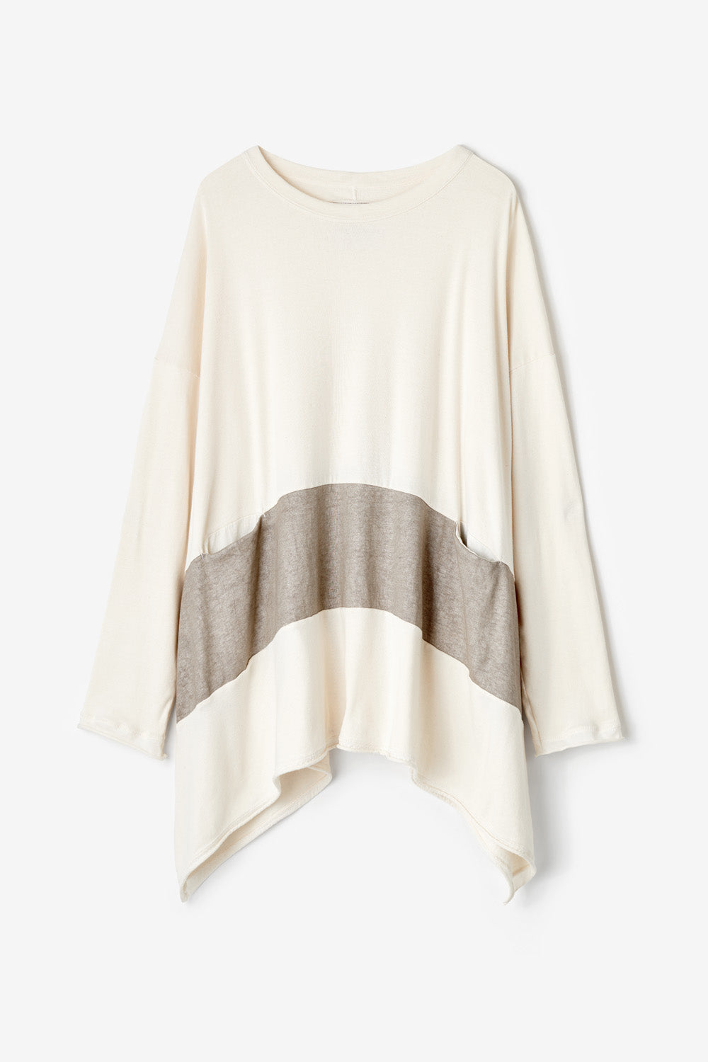 Alabama Chanin Natalie's Pullover Oversized Organic Cotton Pull On Top with Hand-Painted Stripe and Pockets