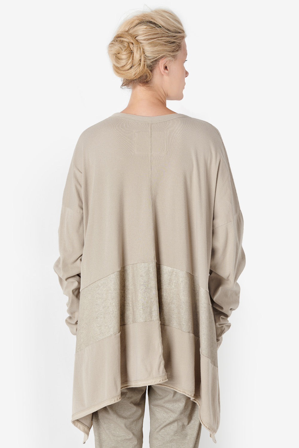Alabama Chanin Natalie's Pullover Women's Oversized Top with Drop Shoulder with Hand-Painted Stripe and Pockets in Tan