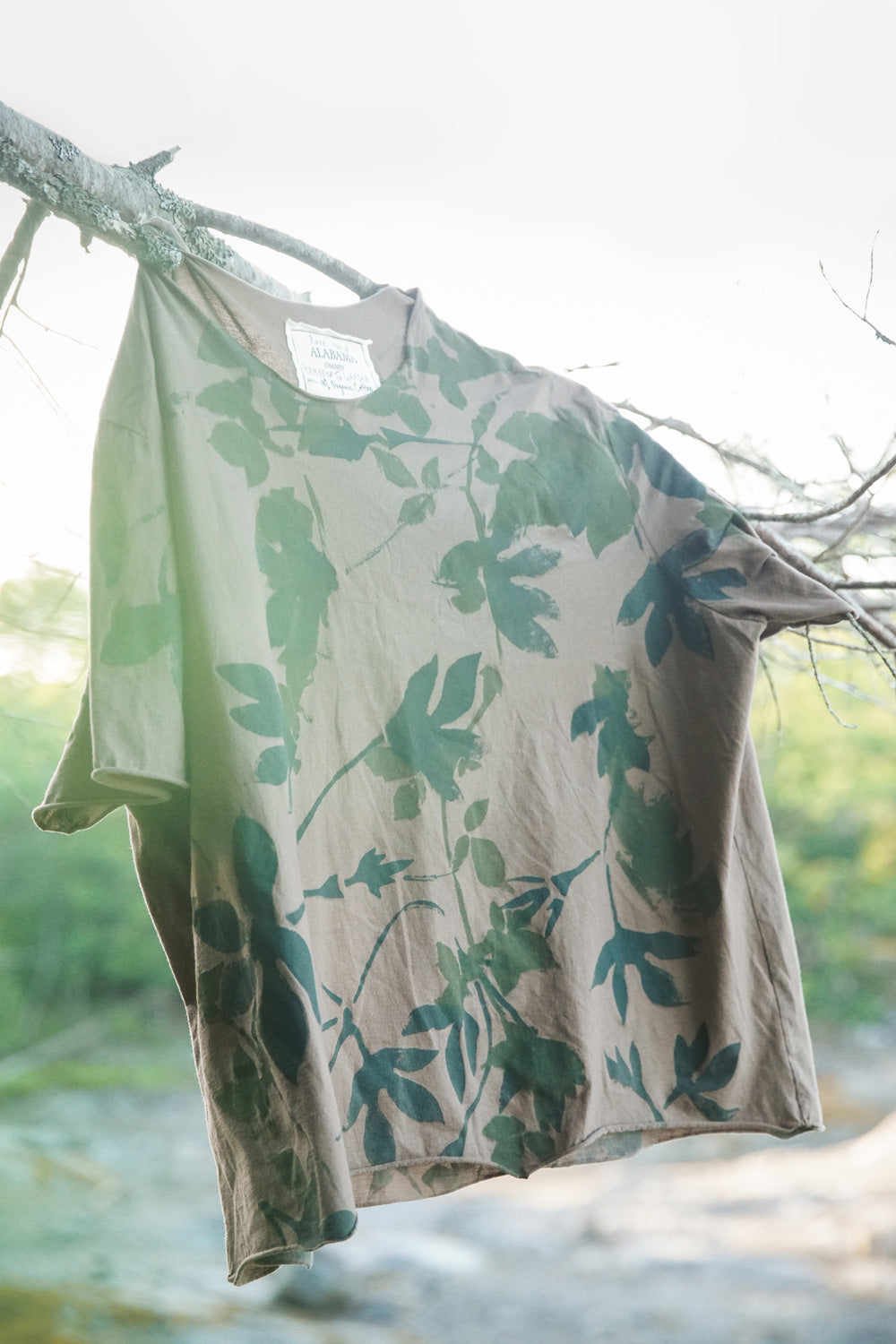 Alabama Chanin 100% Organic Cotton Cropped Top with Handpainted Leaves in Light Brown