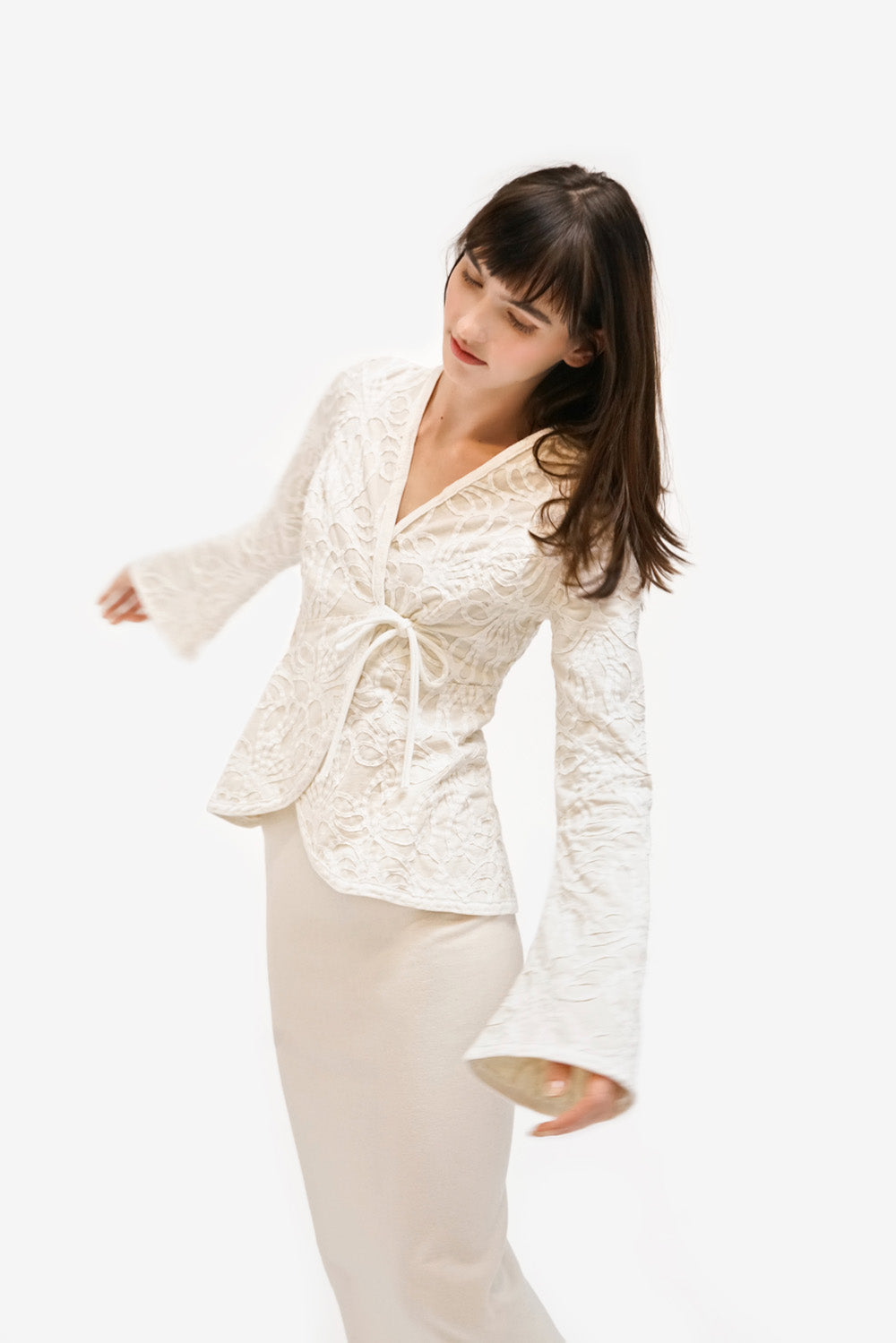 Alabama Chanin Ophelia Cardigan Handsewn Wrap Top with Long Sleeves in White
