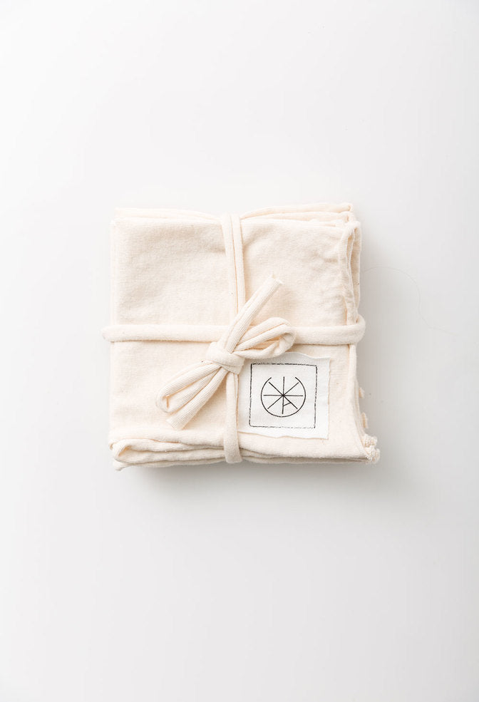 Alabama Chanin Cocktail Napkins Cotton Jersey Napkin Set in Natural