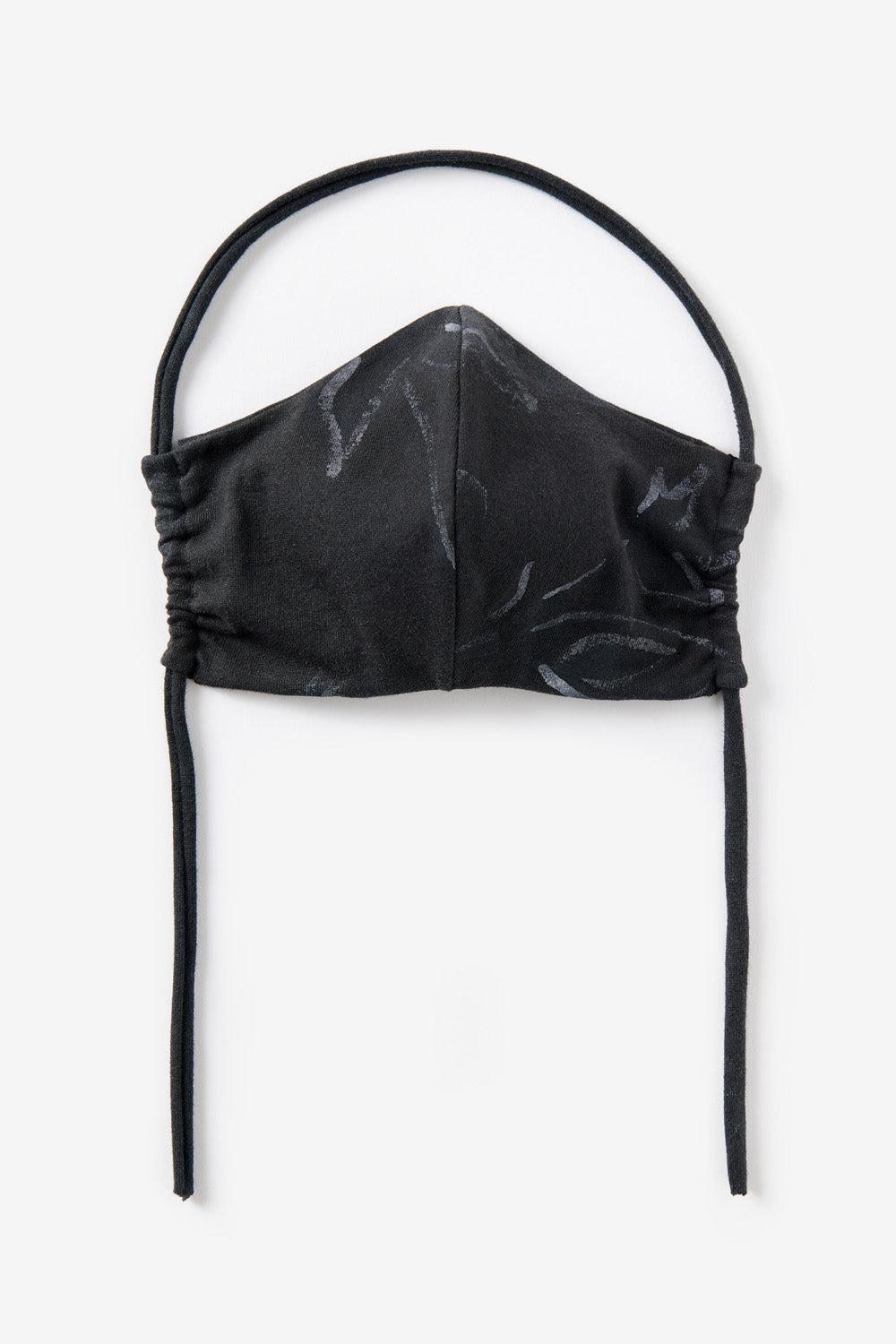 Alabama Chanin The Florence Face Mask Organic Cotton Fashion Mask with Jersey Tie in Black