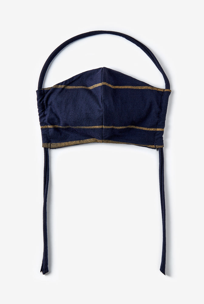 Alabama Chanin The Marine Stripe Face Mask Machine-Sewn Reusable Face Mask in Navy with Stripes