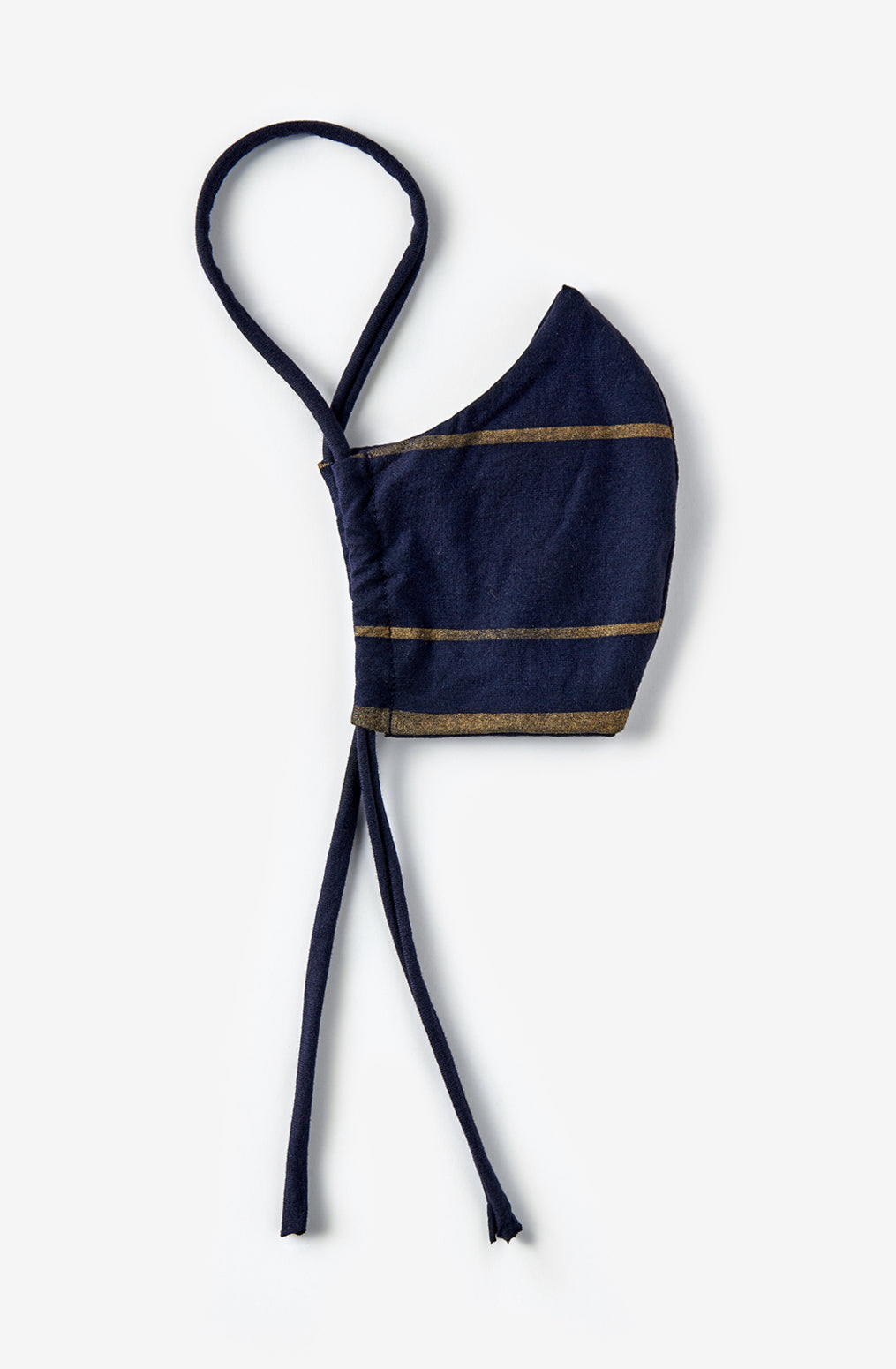 Alabama Chanin The Marine Stripe Face Mask Organic Cotton Reusable Face Mask in Navy with Gold Stripes