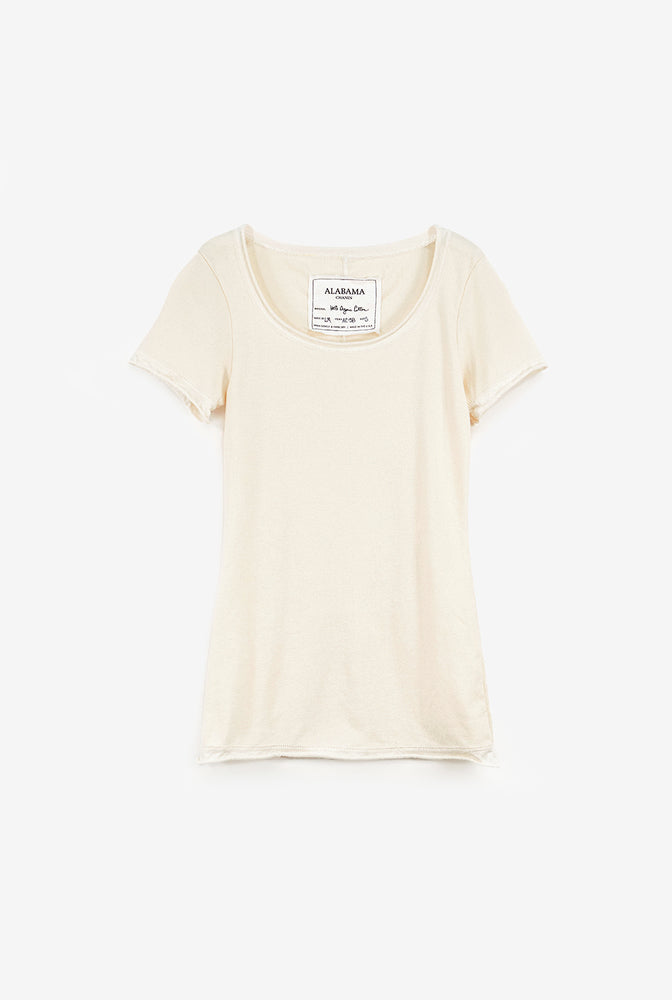 Alabama Chanin Short Sleeve Top with Round Neck in Natural