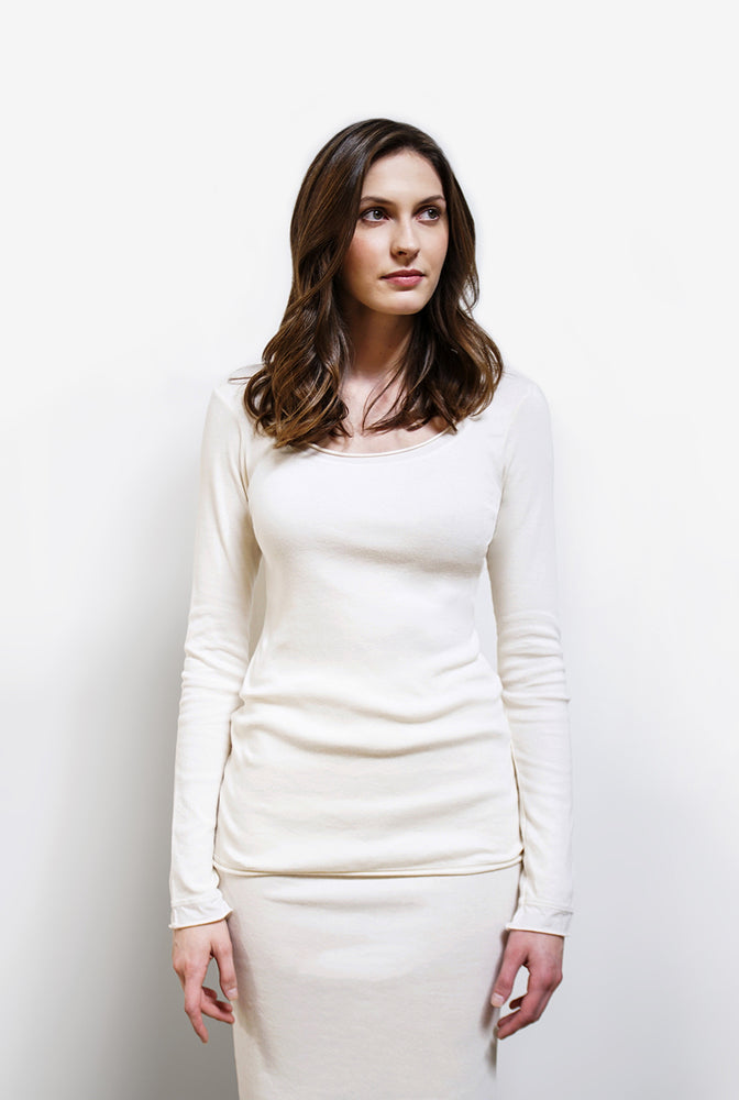 Alabama Chanin Organic Cotton Long Sleeve Top in White Styled on Model
