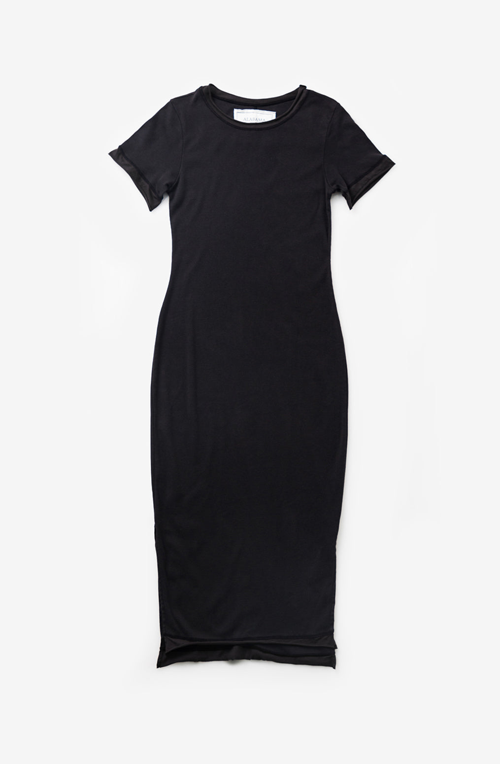 Alabama Chanin Organic Cotton Lightweight Rib Dress in Black with Short Sleeves and Side Slits
