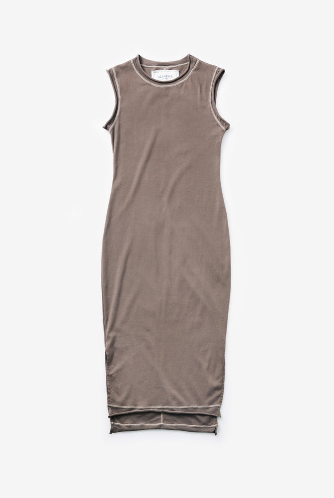 Alabama Chanin Rib Dress in Brown with Cream Thread with Side Slits