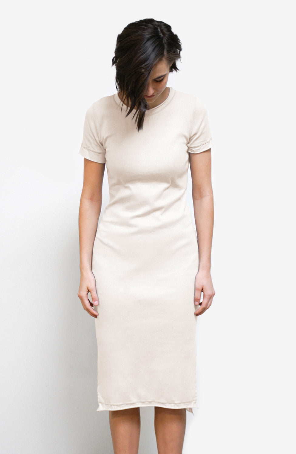 Alabama Chanin Organic Cotton Rib Dress in Natural with Short Sleeve Styled on Model