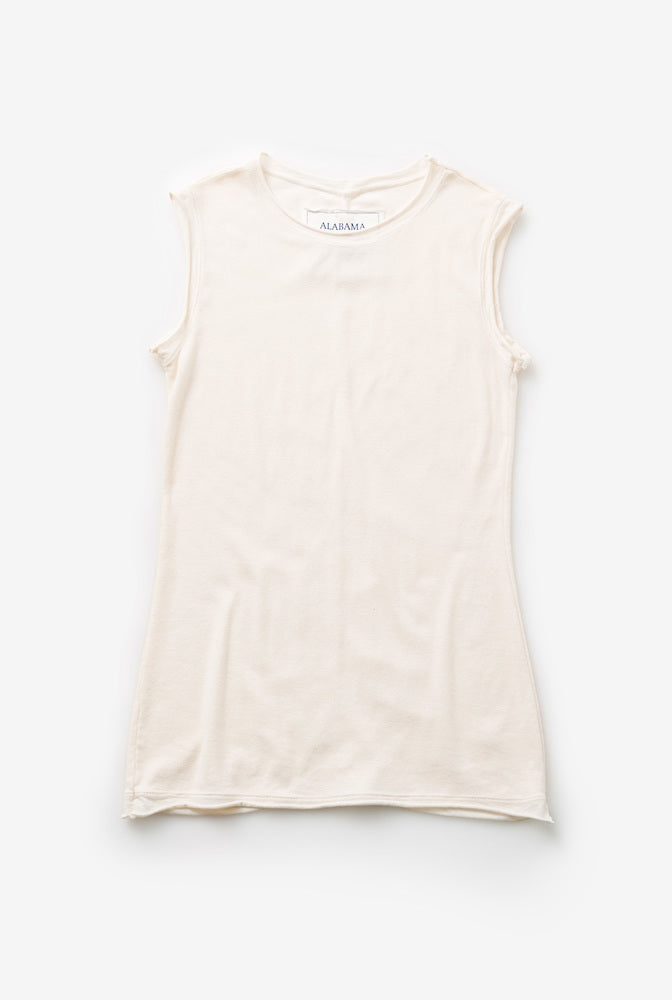 Alabama Chanin Organic Cotton Tank Top with Rounded Neck in Natural
