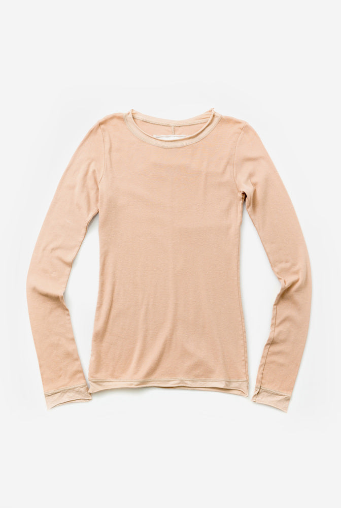 Alabama Chanin Organic Cotton Top with Long Sleeves in Pink