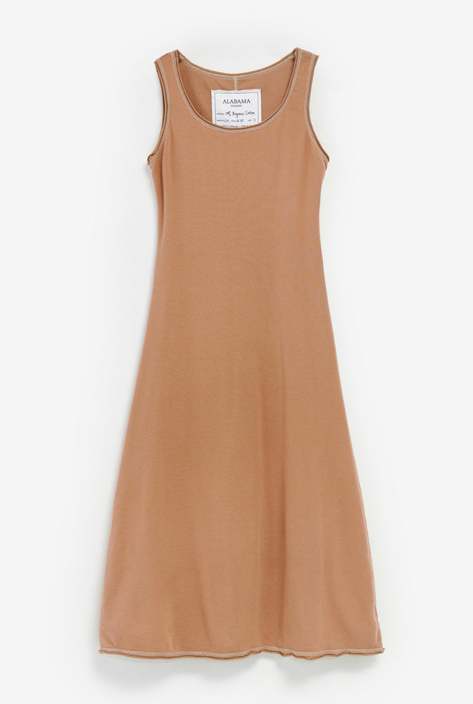 Alabama Chanin Slip Dress without sleeves in Caramel