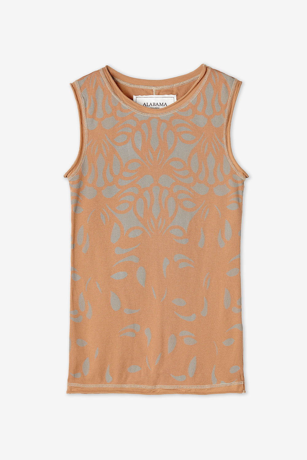 Alabama Chanin Ramona Top Light Brown Top with Hand Painted Lace Pattern