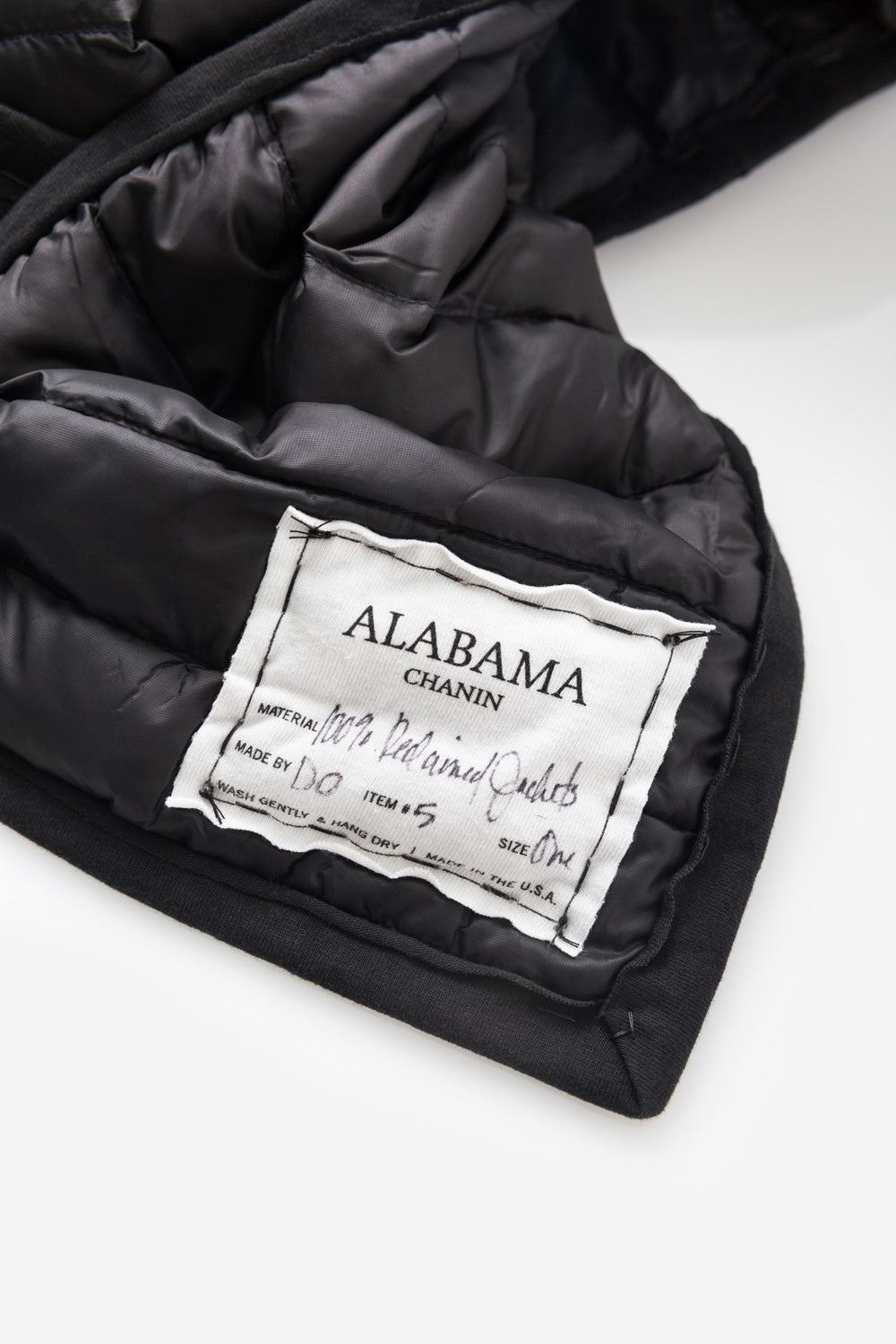 Alabama Chanin Hand-Sewn Reclaimed Down Scarf in Black Label Image