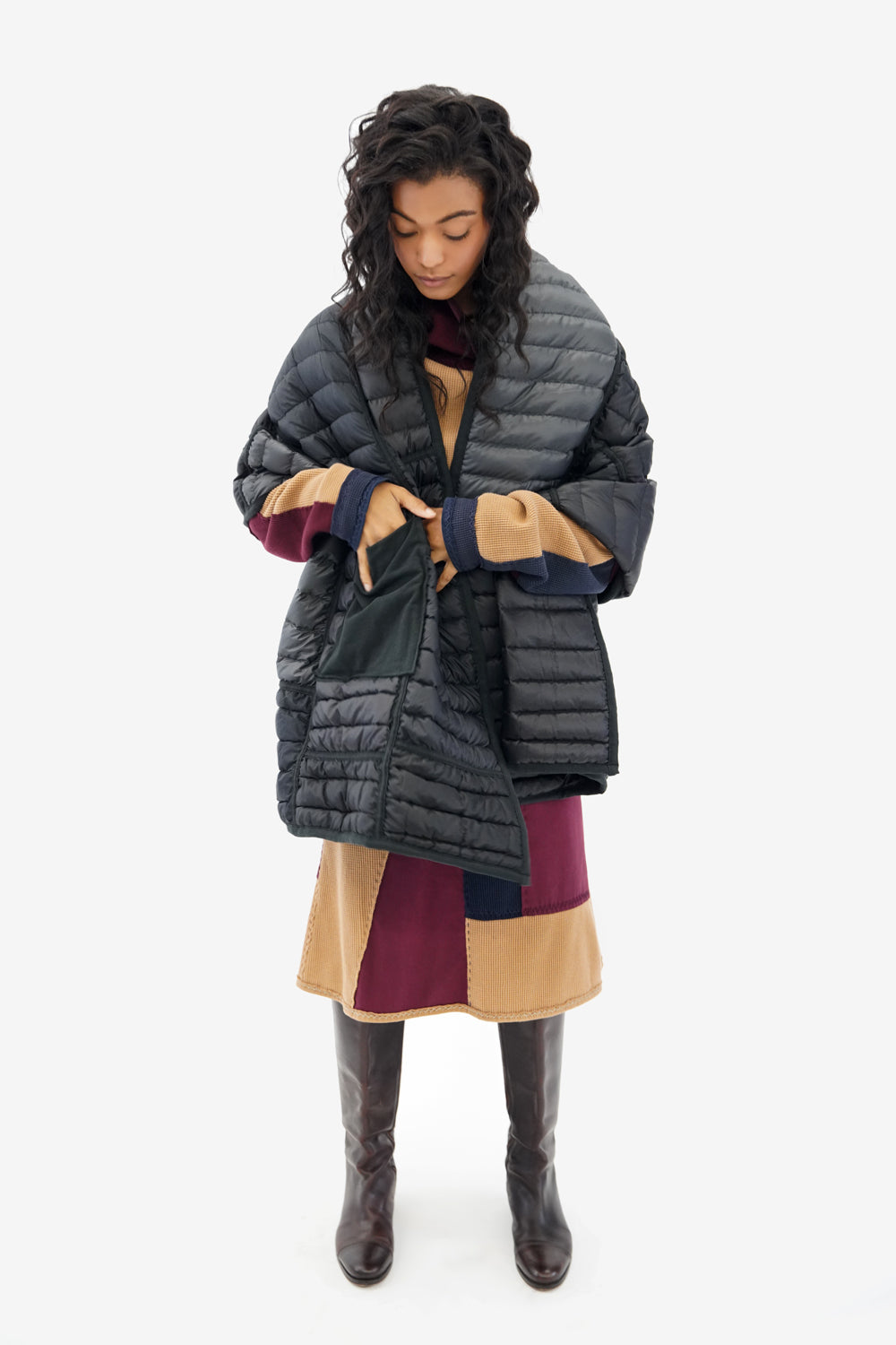 Alabama Chanin Reclaimed Down Wrap in Black Sustainable Upcycled from Down Jackets