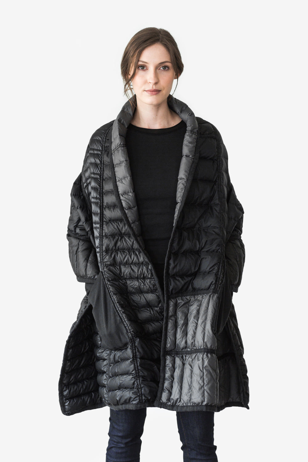 Alabama Chanin Reclaimed Down Wrap in Black Sustainable Upcycled from Down Jackets One of a Kind Sewn in Alabama