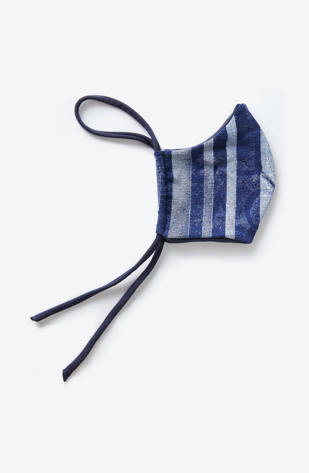 Alabama Chanin Graffiti Face Mask Machine-Sewn Reusable Face Mask in Blue with Hand-Painted white Stripes