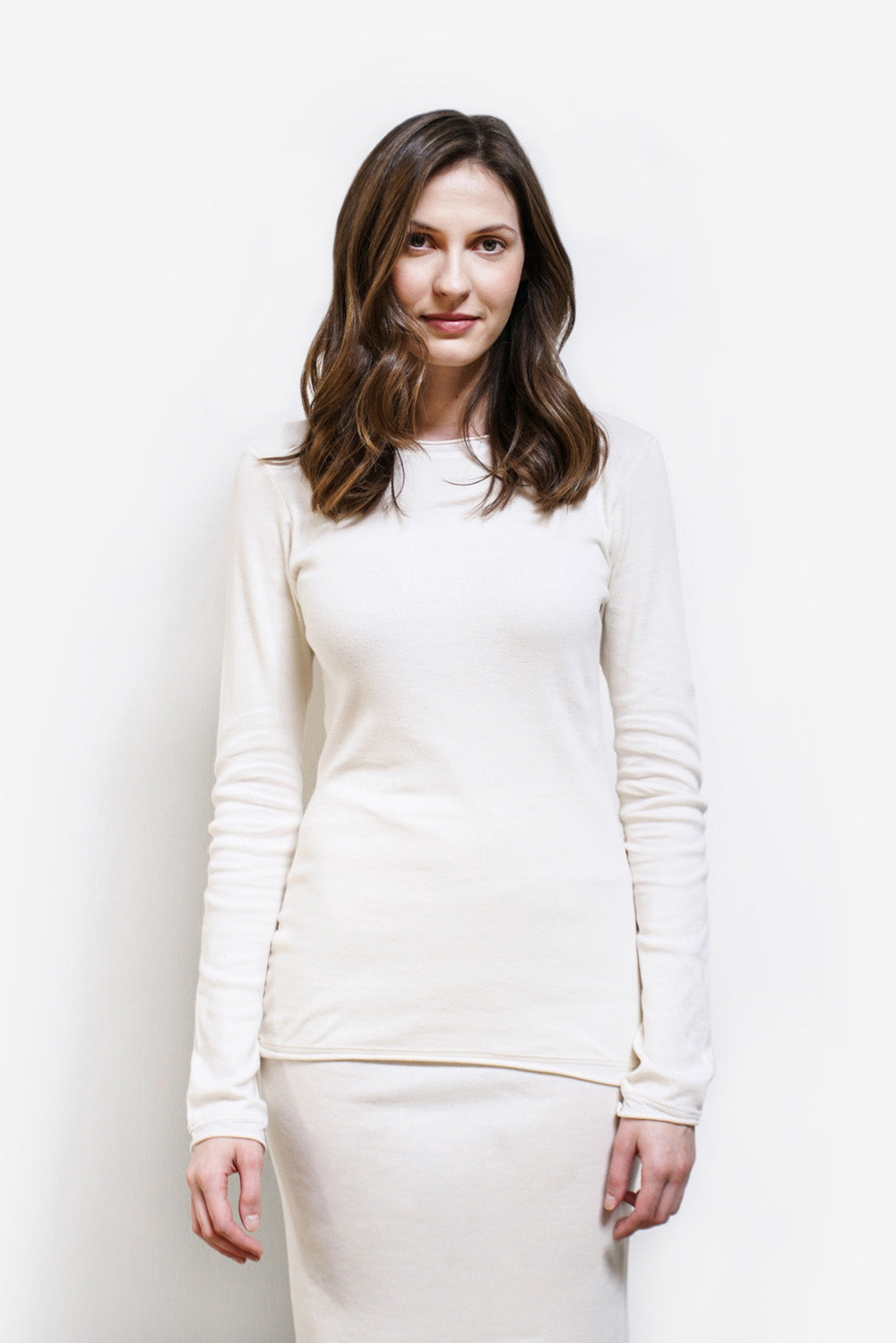 Alabama Chanin The Rib Crew Long Sleeve Layering Top in Natural Organic Cotton Styled on Model
