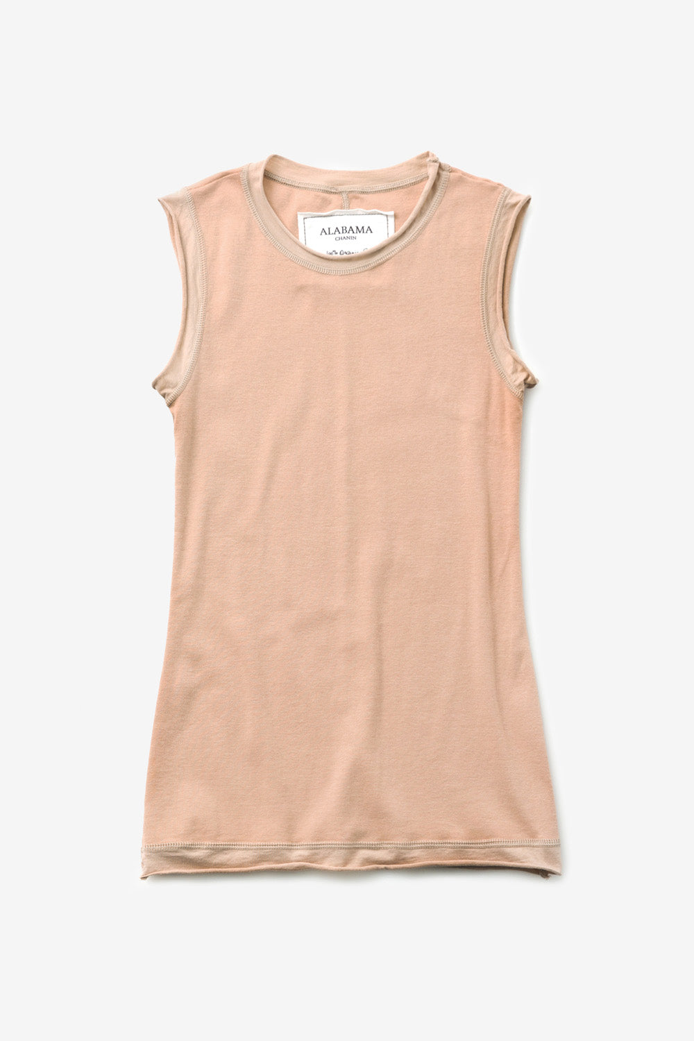 Alabama Chanin The Rib Crew Sleeveless Women's Organic Cotton Layering Top in Light Pink