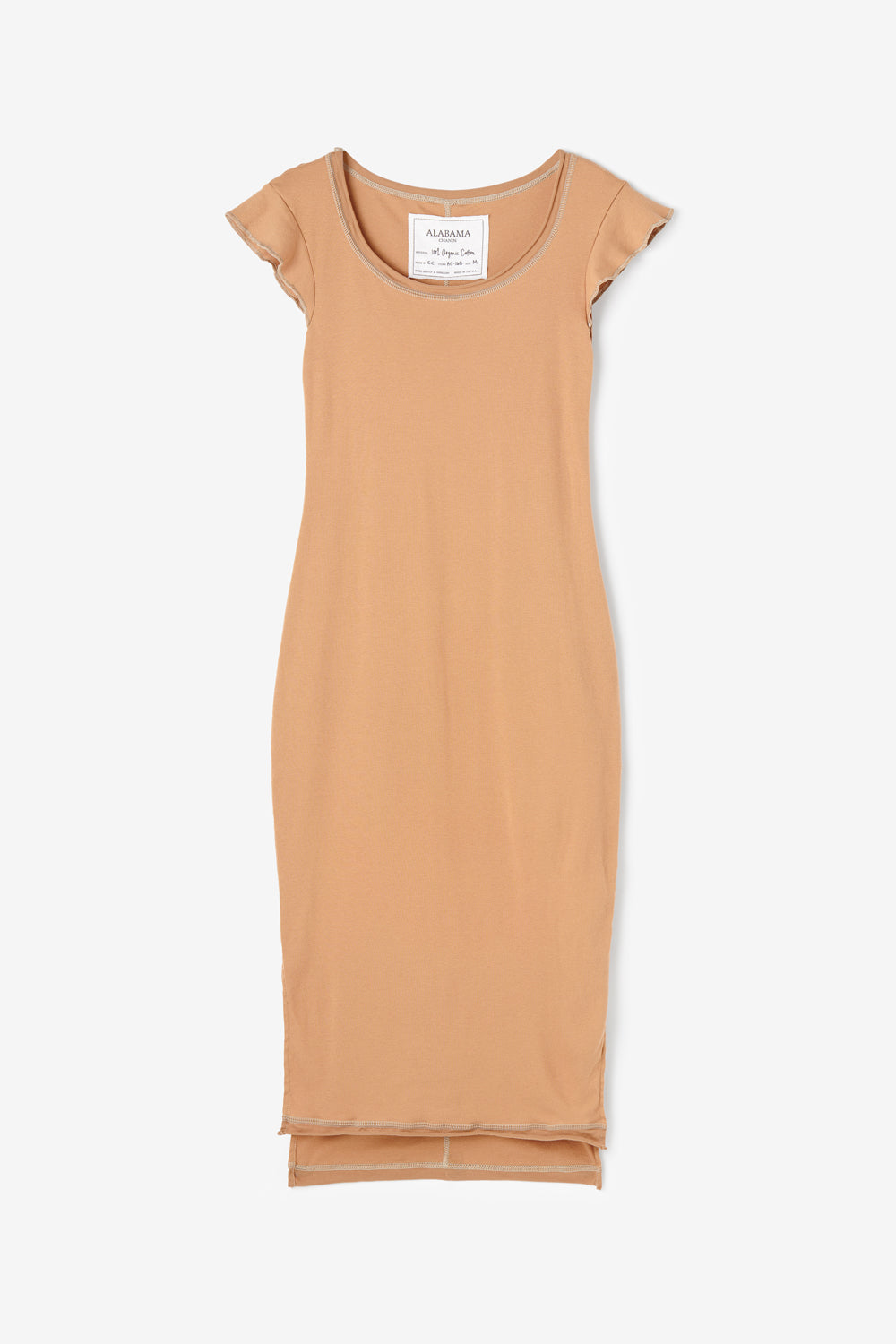 Alabama Chanin Felicity Dress in Organic Rib Knit Cotton with Flutter Sleeves