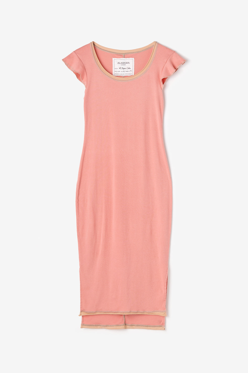 Alabama Chanin Felicity Dress Organic Cotton Dress with Scoop Neckline and Flutter Sleeves in Sunset Rib