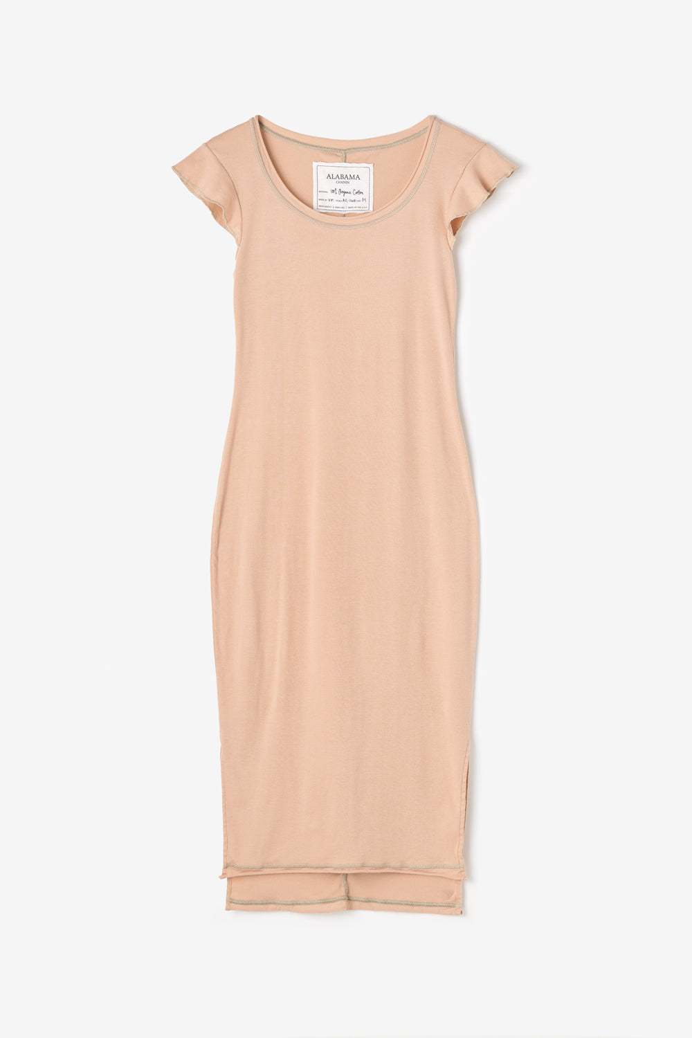 Alabama Chanin Organic Cotton Felicity Dress with Flutter Sleeves in Vetiver Rib
