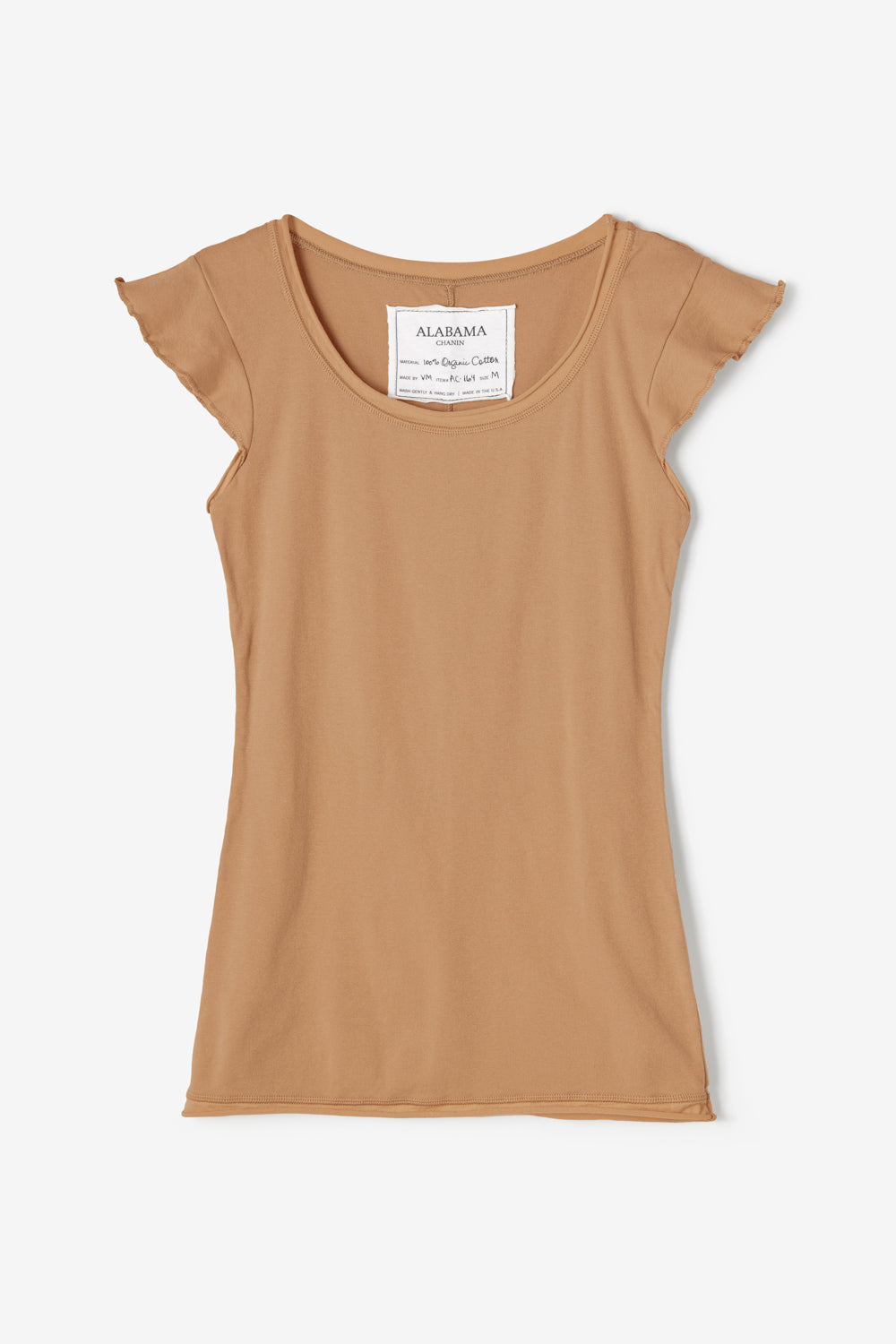 Alabama Chanin Felicity Top Rib Scoop Top with Flutter Sleeves in Organic Cotton