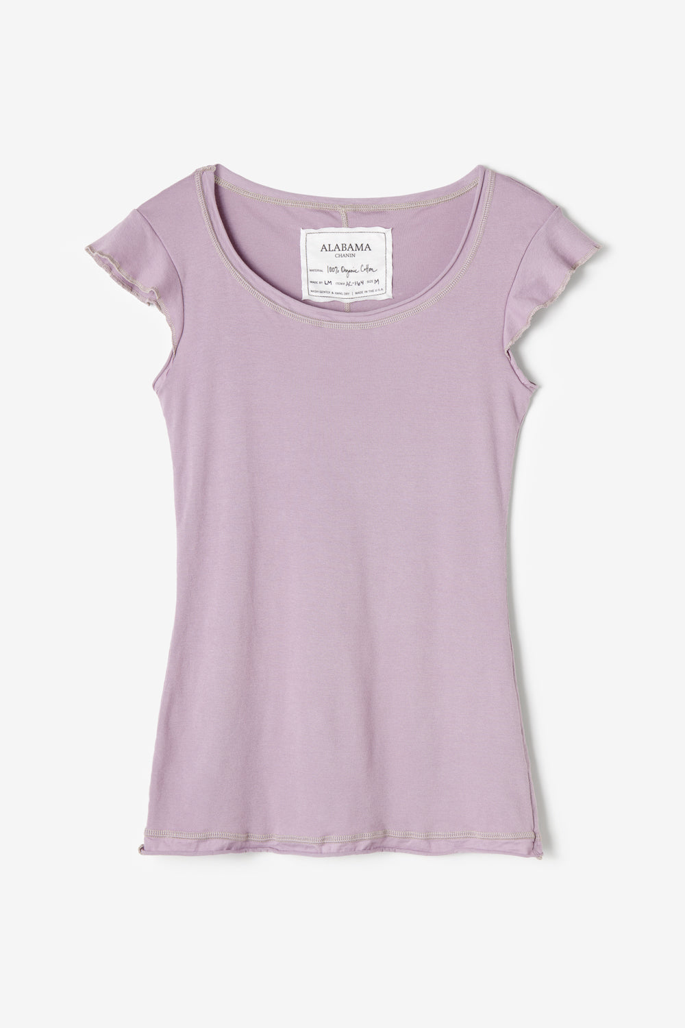 Alabama Chanin Felicity Top with Flutter Sleeves in Lilac Organic Cotton Rib