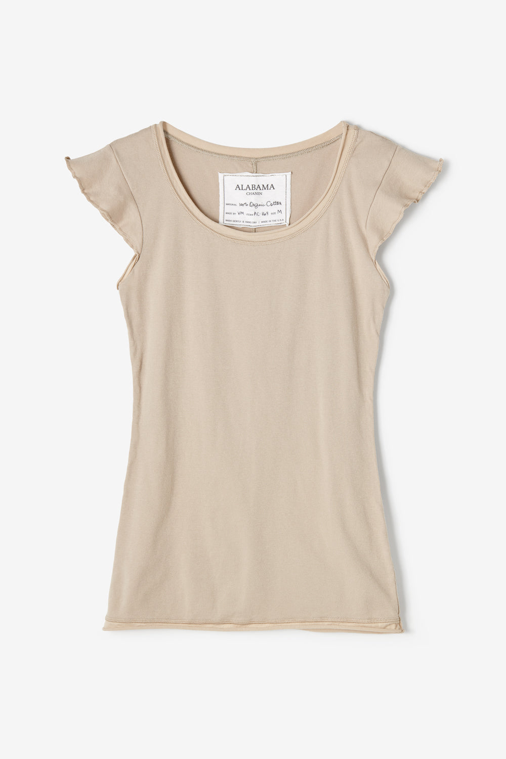 Alabama Chanin Felicity Top Organic Cotton Womens Rib Top with Flutter Sleeves and Scoop Neckline