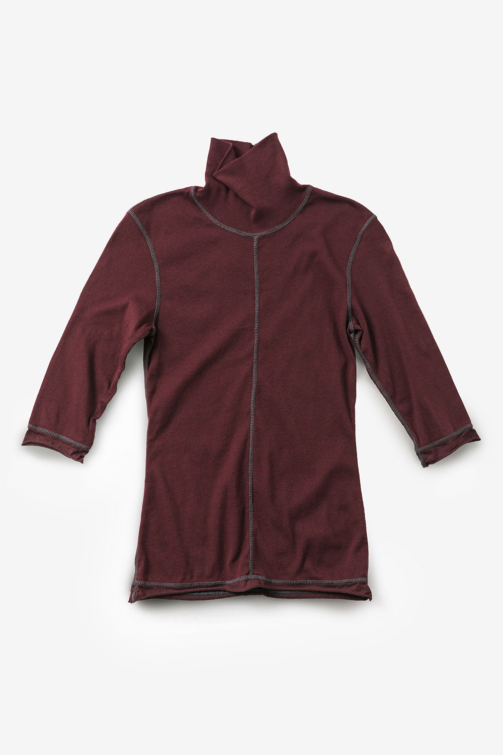 Alabama Chanin The Rib Turtleneck Organic Cotton Women's Top with Elbow Length Sleeves in Plum