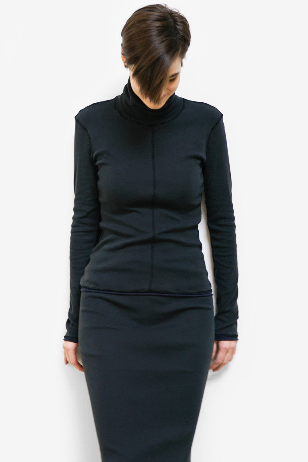 alabama chanin the rib turtleneck top with long sleeves made with organic cotton on model