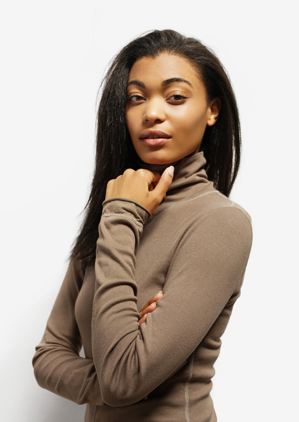 alabama chanin the rib turtleneck top in light brown with long sleeves