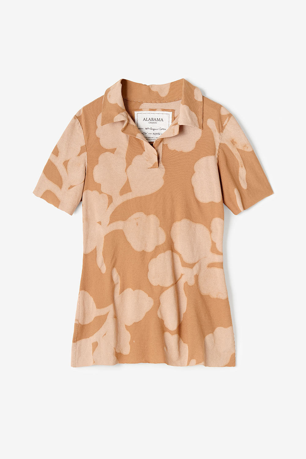 Alabama Chanin Ripley Polo Women's Organic Cotton Polo Top in Camel Hand-Painted Leaves