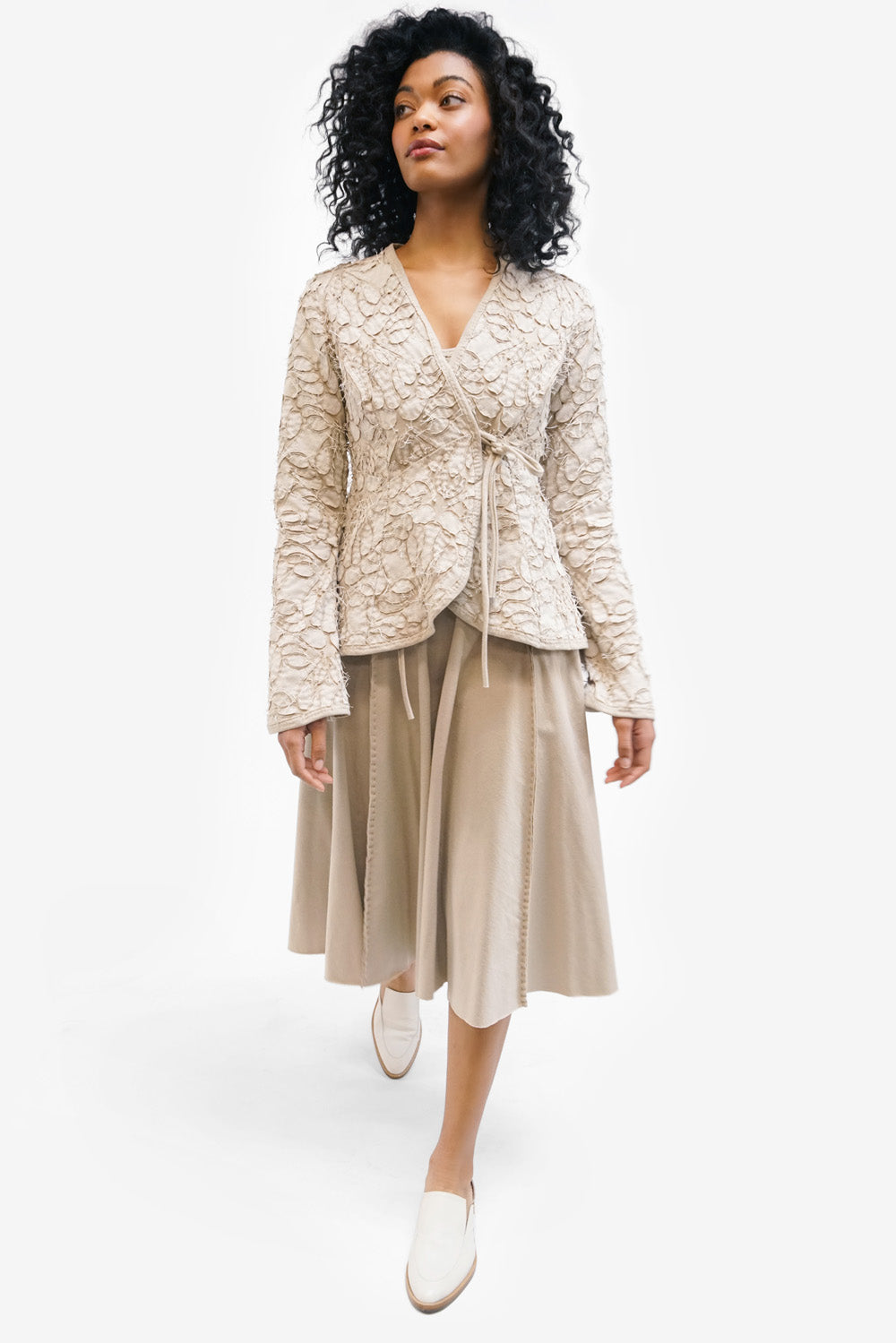 Alabama Chanin Rosamund Cardigan Hand Sewn Women's Wrap Top in Sand Organic Cotton