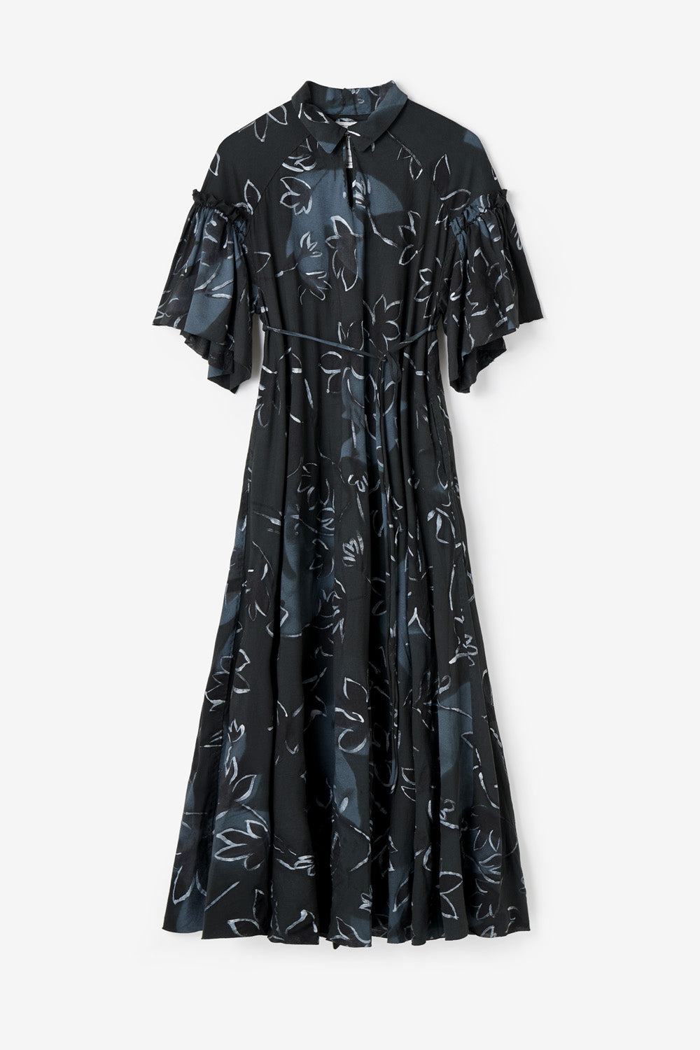 Alabama Chanin Samantha Joan Dress Women's Organic Cotton Dress with Hand-Painted Floral Print on Black