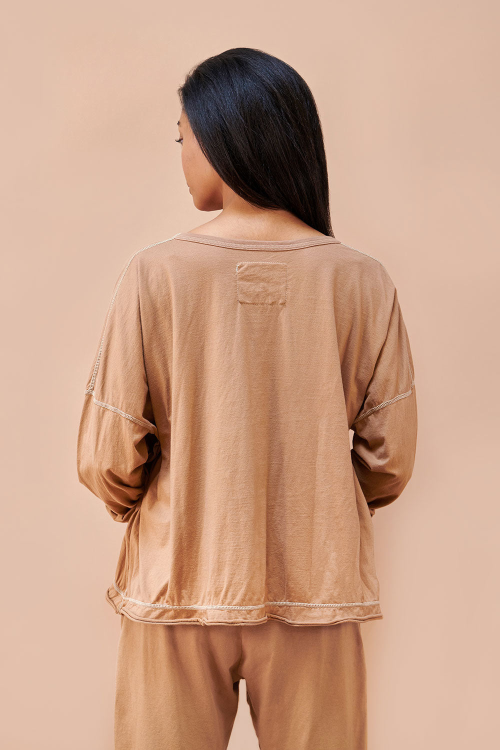 Alabama Chanin The Coverup Oversized Womens Long Sleeve Top in Organic Camel Cotton