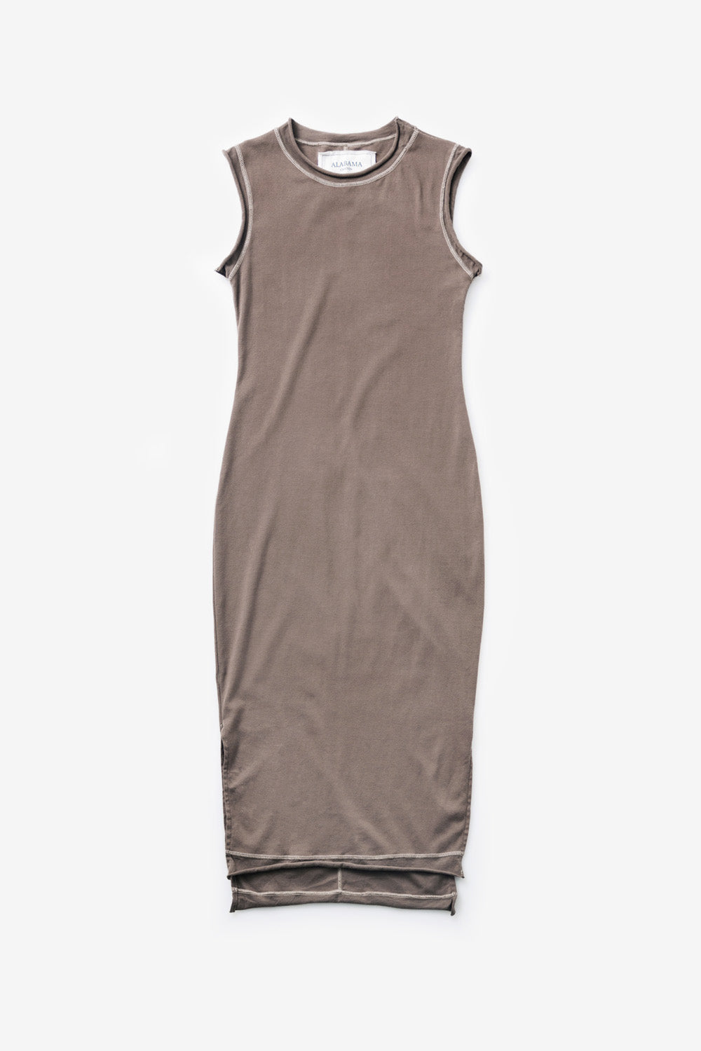 Alabama Chanin The Essential Rib Dress Women's Organic Cotton Sleeveless Rib Dress with Side Slits in Brown