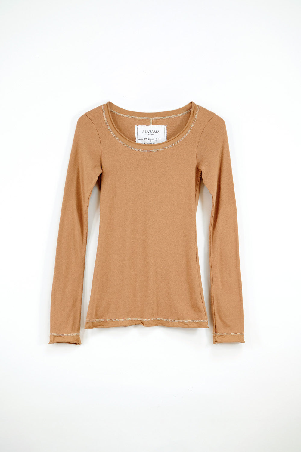 Alabama Chanin The Essential Rib Top Organic Cotton Rib Top with Long Sleeves in Camel