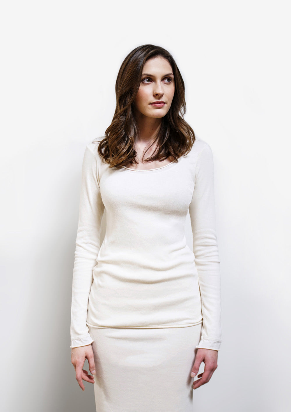 Alabama Chanin The Essential Rib Top Organic Cotton Rib Top with Long Sleeves in White on Model