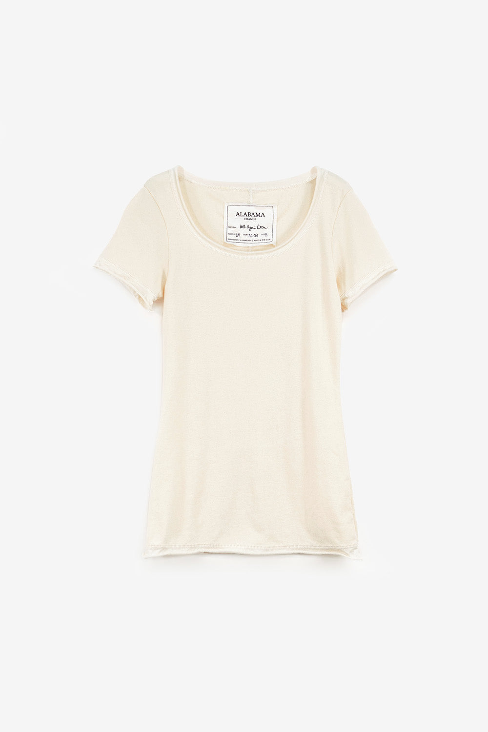 Alabama Chanin The Essential Rib Top Women's Short Sleeve Rib Top with Crew Neck in Natural