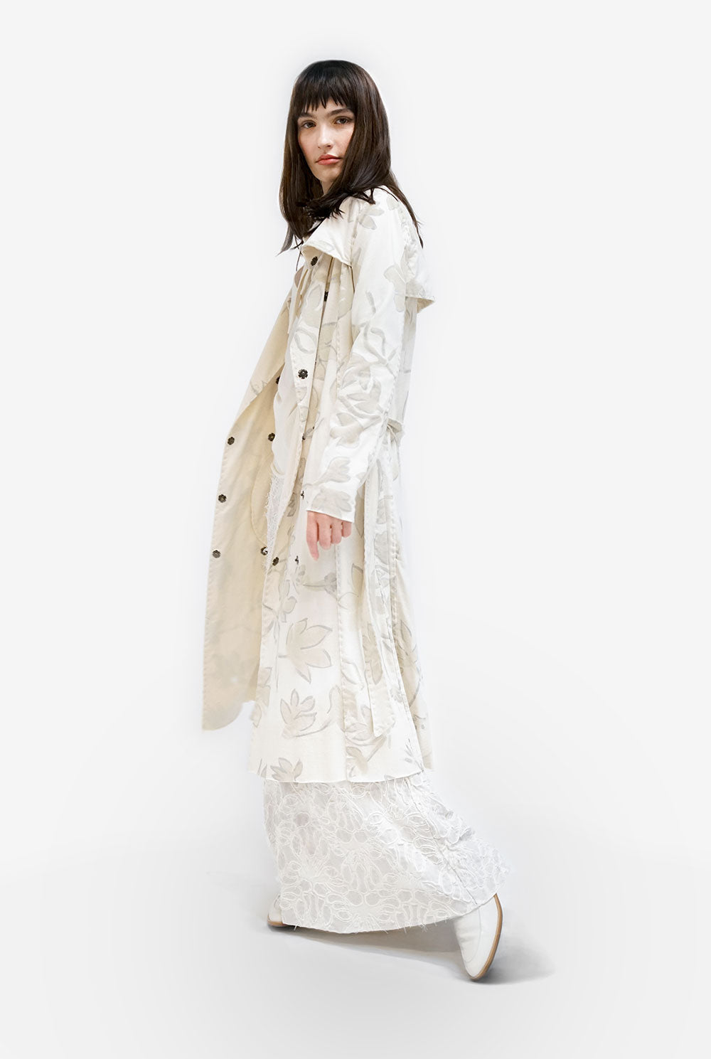 Alabama Chanin The Florence Trench Coat made with Organic Cotton Layered on Model