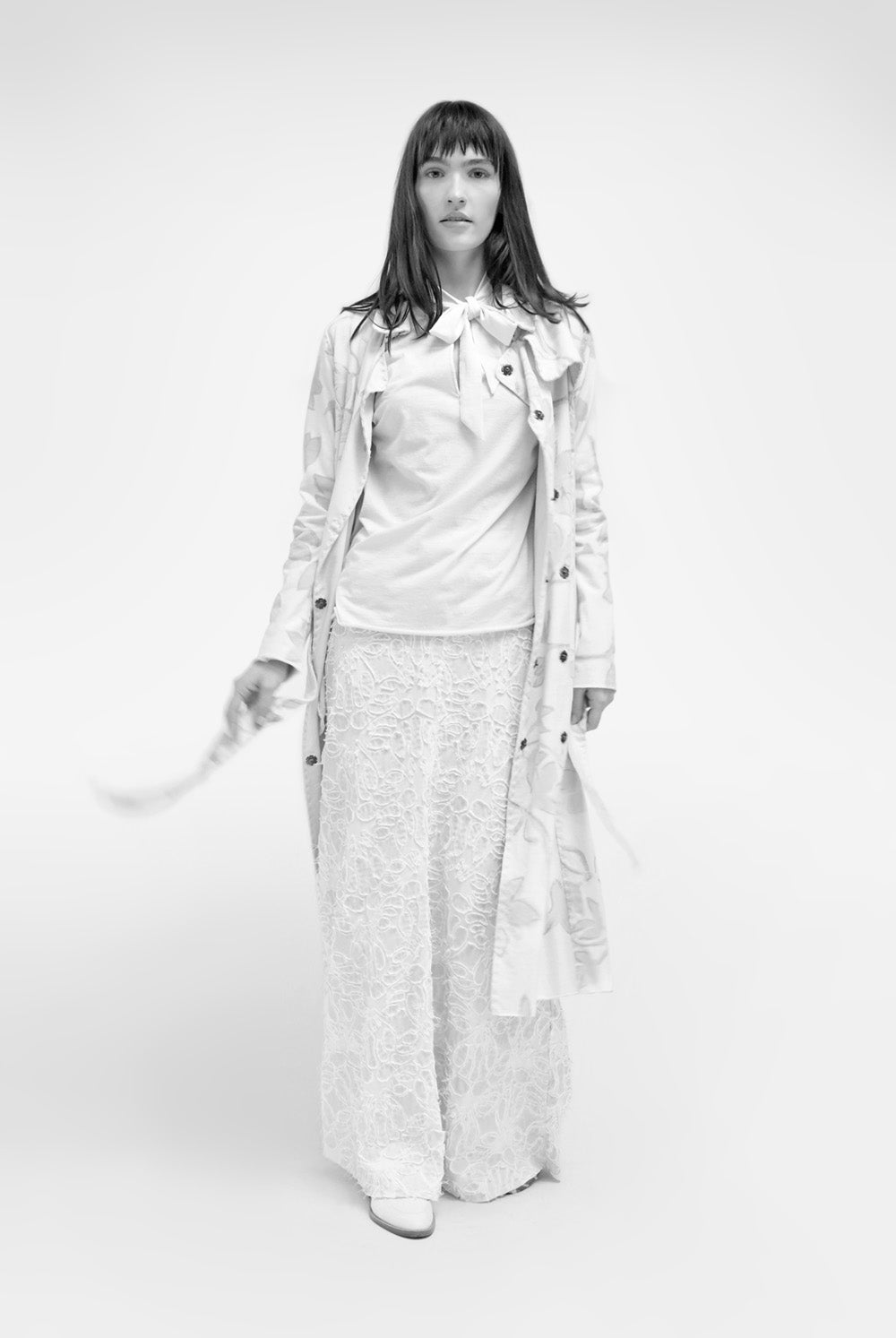 Alabama Chanin The Florence Trench Hand-Sewn Lightweight Trench with Hand-Painted Floral Pattern and Tie