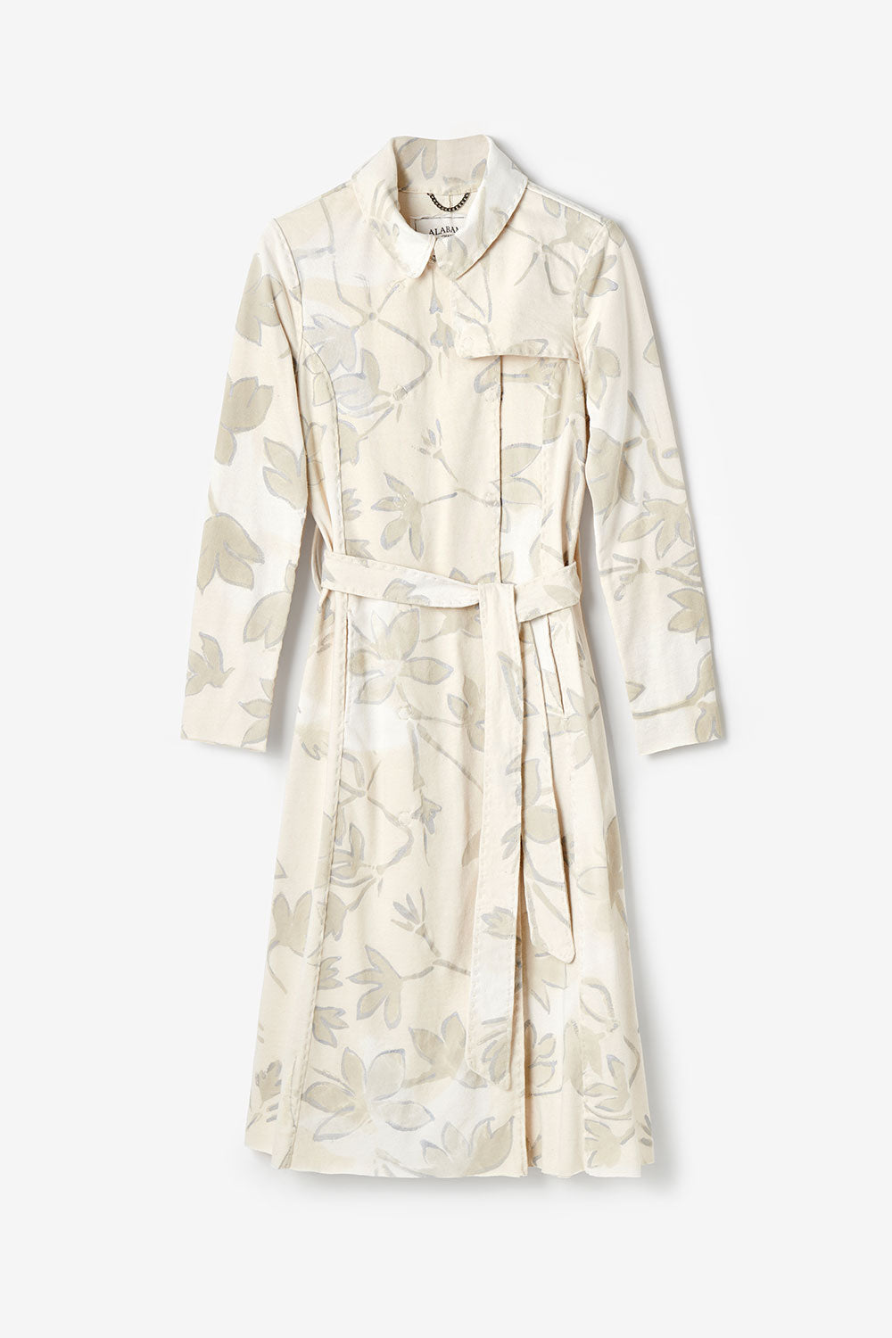 Alabama Chanin The Florence Trench Coat with Hand Painted Floral Pattern in Natural with Tie