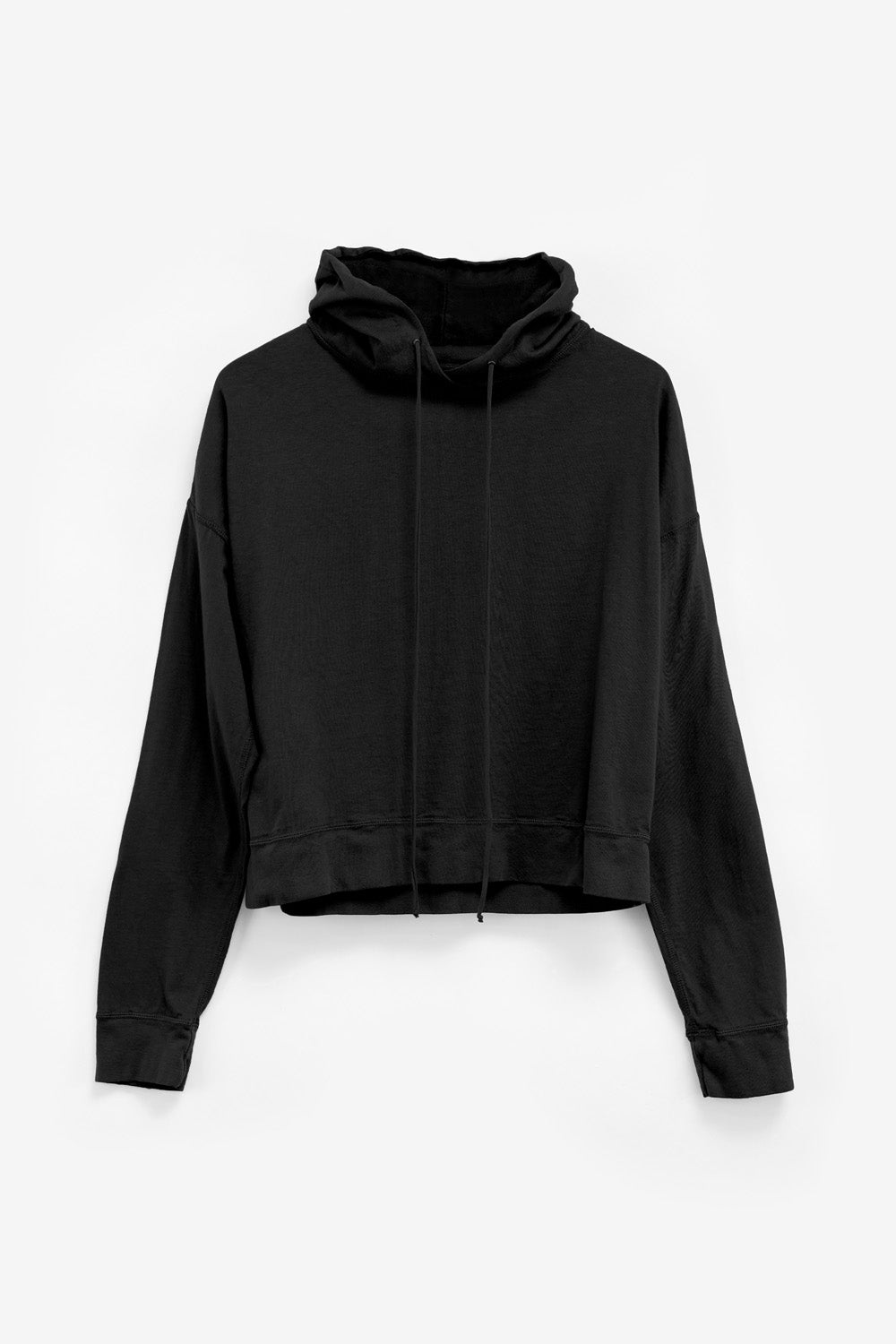 Alabama Chanin The Hoodie Women's Organic Cotton Hoodie with Tie in Black