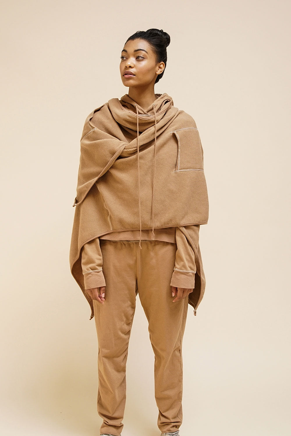 Alabama Chanin The Hoodie Machine Sewn Women's Cotton Hoodie in Camel Layered on Model