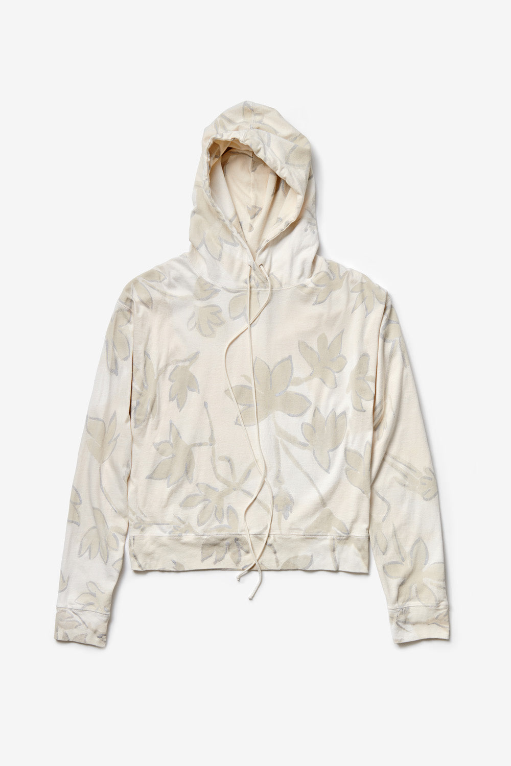 Alabama Chanin The Hoodie Organic Cotton Top with Hood in Natural Floral Print