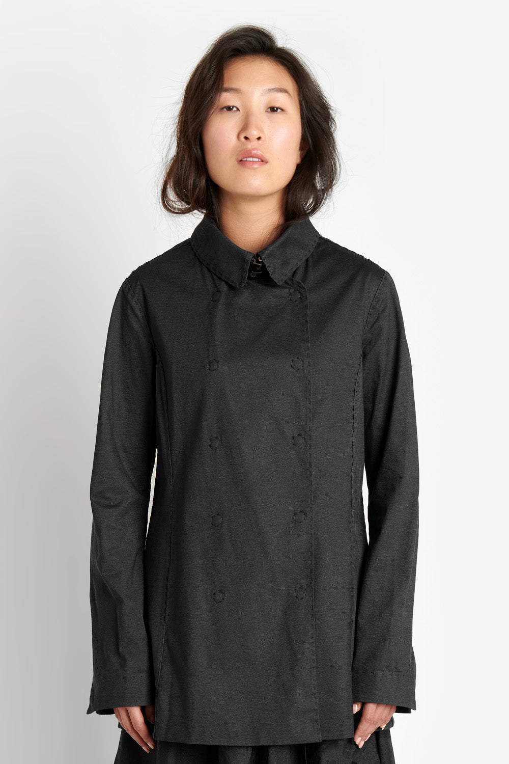 Alabama Chanin The Peacoat Women's Organic Cotton Peacoat in Black with Hand-painted FInish